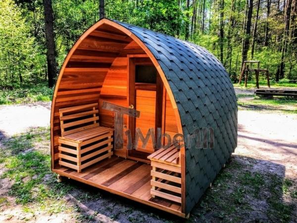 Sauna Jardin Extérieur En Bois Cèdre Rouge Avec Chauffage électrique Et Porche